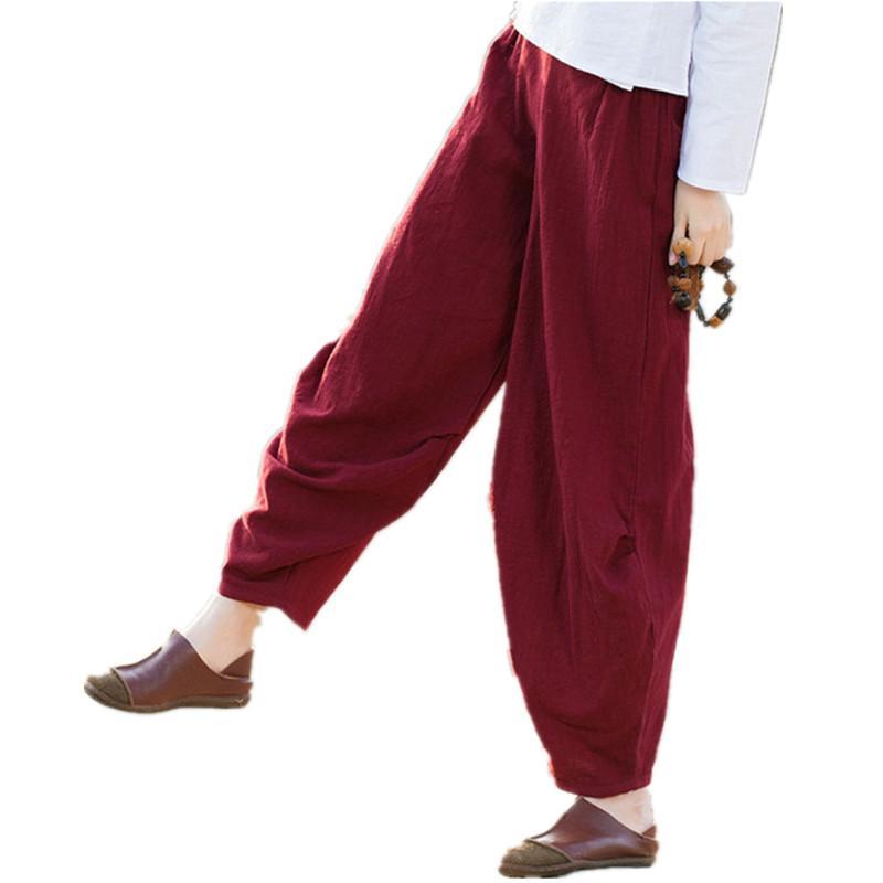 820251998 Clobee pantalones mujer Pantalones anchos de cintura alta Mujeres tallas  grandes Pantalones harén Boho Ropa de cama de algodón harén Mujeres ...