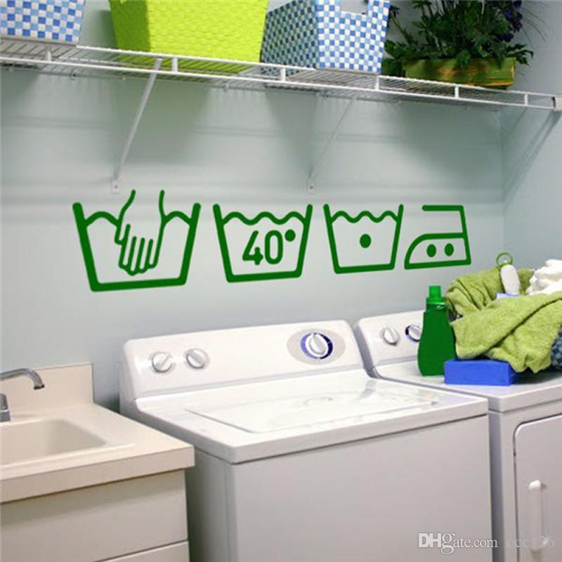 Stickers muraux en vinyle Instructions de nettoyage Buanderie Salle de bains Toilette Public icon Stickers muraux Décor à la maisonDécal DIY Art Muraux
