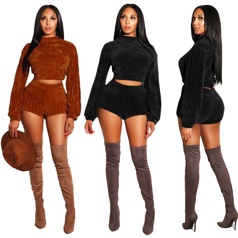 f0a9f8ea3d2 2019 Women Two Piece Pants Autumn Winter Clothes Sets Knits Sweater Pencil  Pants Shorts Outfits Brown Black Xl 811 From Fulary b