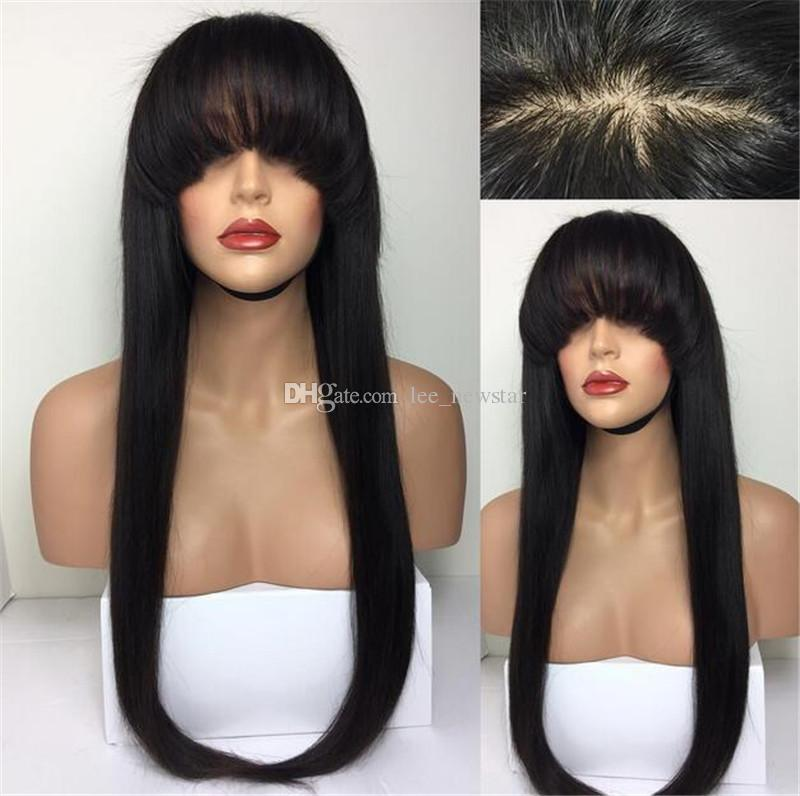 9A Human Hair Wigs With Bangs Silky Straight Peruvian Virgin Full Lace Wig With Baby Hair Lace Front Wigs Black Women