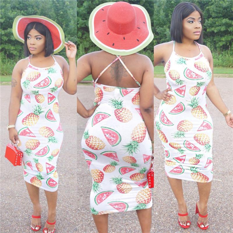 95b856cc723 Women Summer Pineapple Watermelon Print Off Shoulder Halter Slim Dress One  Piece Beach Pink Love Bohemian Dresses Fruit Strap Long Dress Hot Women  Dress ...