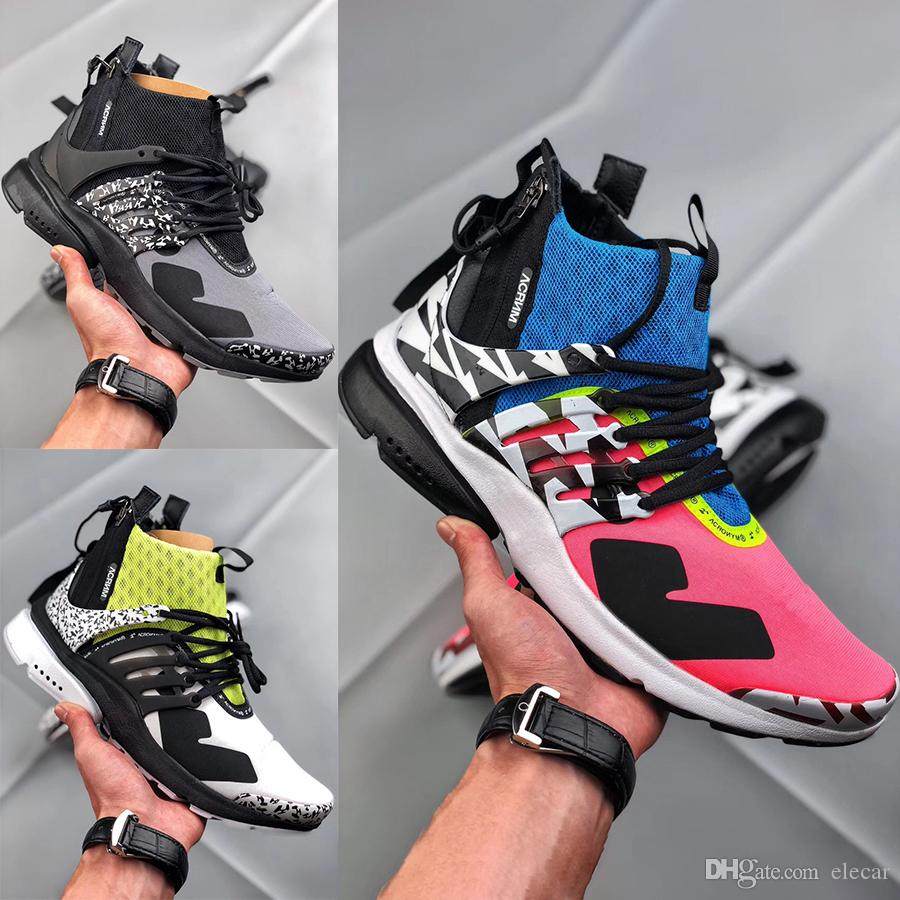 best loved f4d0f 9c280 2019 Cheap Acronym X Presto Mid Designer Sneakers Mens 2019 New Zip  Functional Boots Womens Black White Yellow Graffiti Running Shoes 36 45  From Elecar, ...