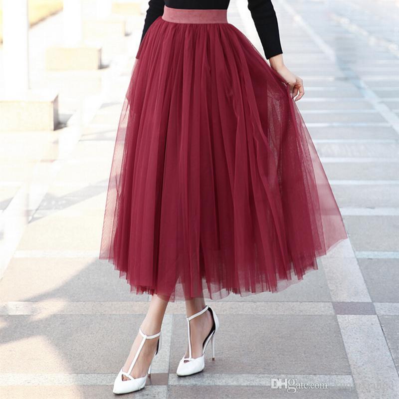 Fast Deliver Summer European Style Women Fashion Long Mesh Pleated Skirt Girls Office Swing Tulle Tutu Skirt Elegant Ball Gown Elastic Waist Women's Clothing Bottoms
