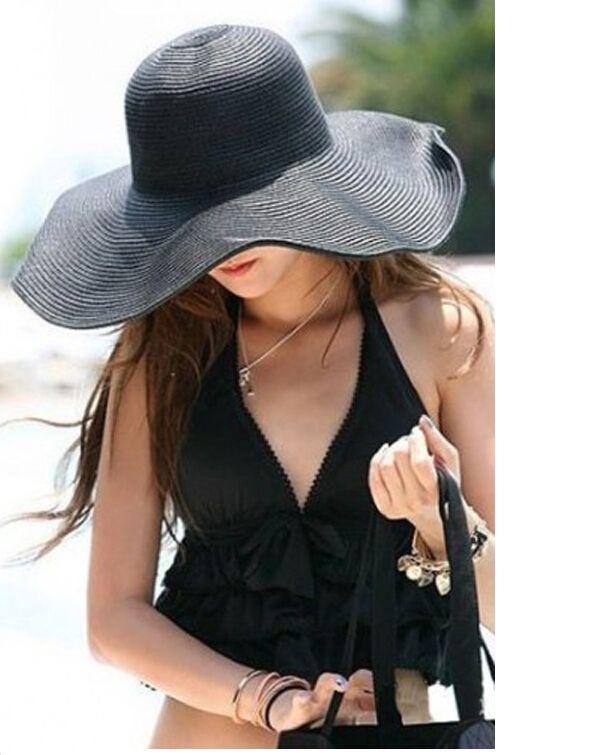 da8aa935c06a7 Women Cute Summer Straw Beach Hat Wide Large Brim Foldable Sun Hat Mens Caps  Crazy Hats From Spectalin