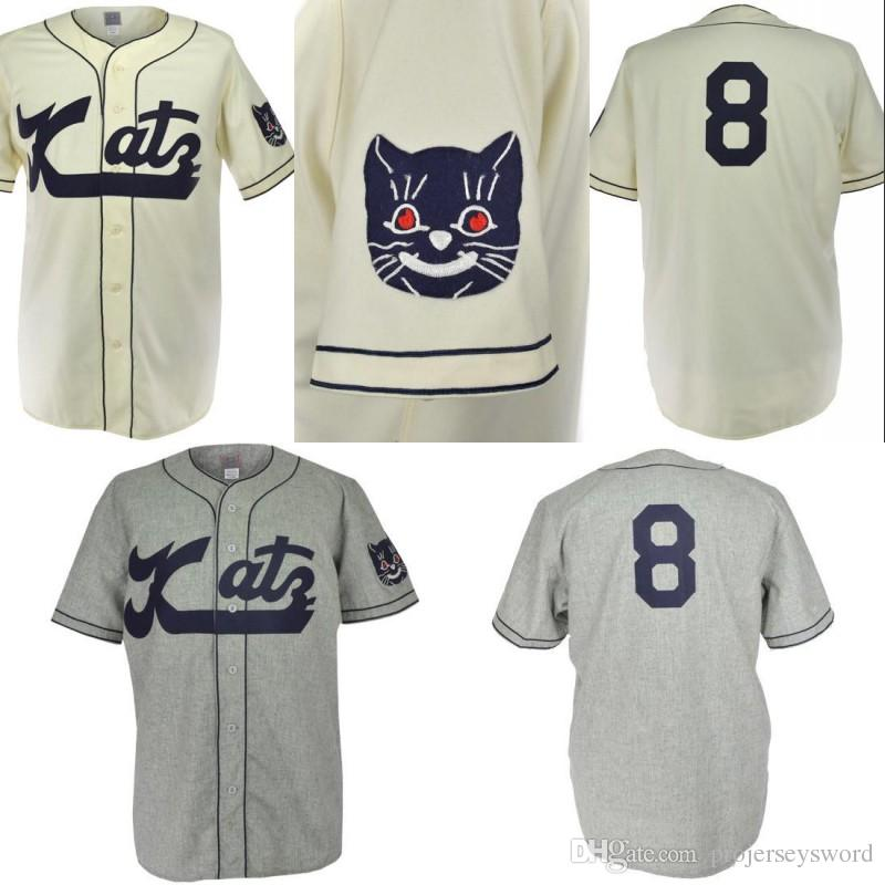 sports shoes 2750d f4f74 Kansas City Katz 1961 Home Road Jersey 100% Stitched Embroidery Logos  Vintage Baseball Jerseys Custom Any Name Any Number Free Shipping