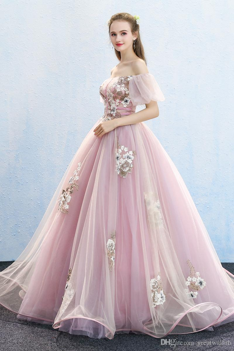 Free Ship Bubble Sleeve Embroidery Ball Gown Cosplay Medieval Dress ...