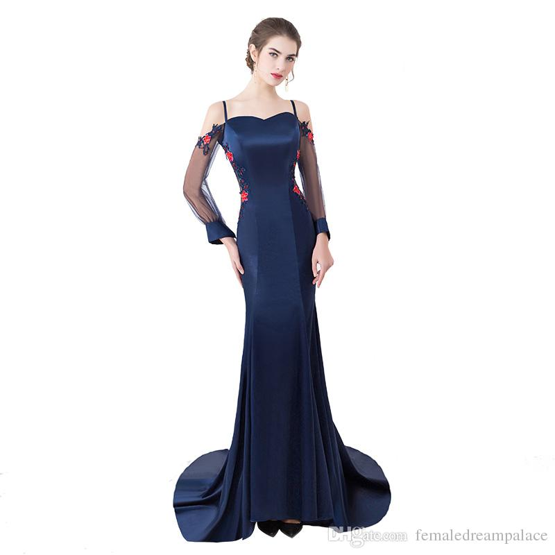a5a5762c972f9 2018 Elegant Blue Satin Spaghetti Evening Dresses With Long Sleeves Custom  Sweetheart Backless Prom Gowns Free Shipping Women Formal Dress