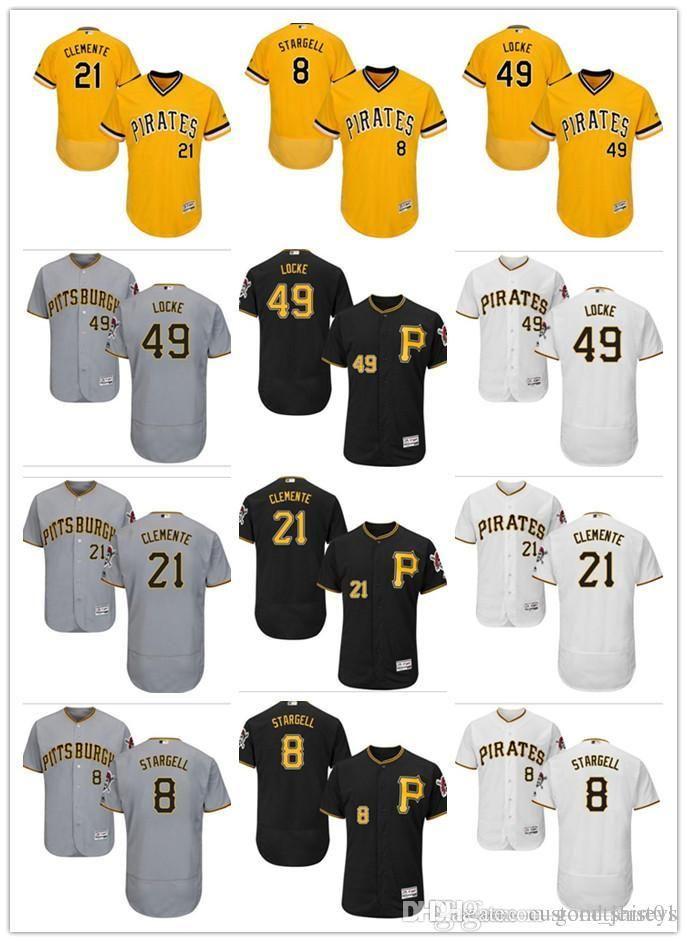 43becb08d 2019 Custom Men Women Youth Pittsburgh Pirates Jersey  49 Jeff Locke 21  Roberto Clemente 8 Willie Stargell Black Yellow Grey Baseball Jerseys From  ...