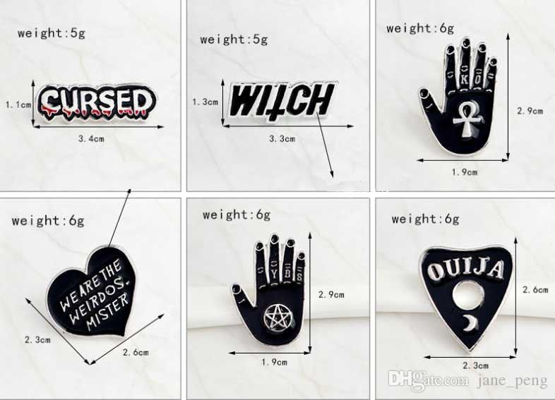 Enamel Pins and Brooches Witch Cursed Ouija We are the Weirdos Mister Black Pin Set Goth pin Goth Punk Backpack Badge Shirt Collar Lapel Pin