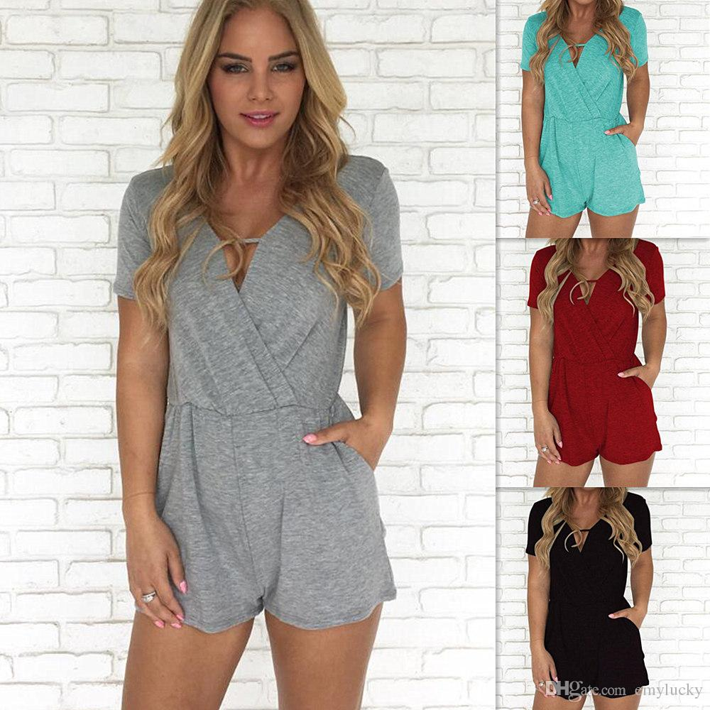 7e67c4104aa 2019 2019 Summer Women Clothes Short Sleeve V Neck Skinny Short Pants Split  T Shirt Women S Sexy Jumpsuits And Rompers Plus Size Women Clothing From ...