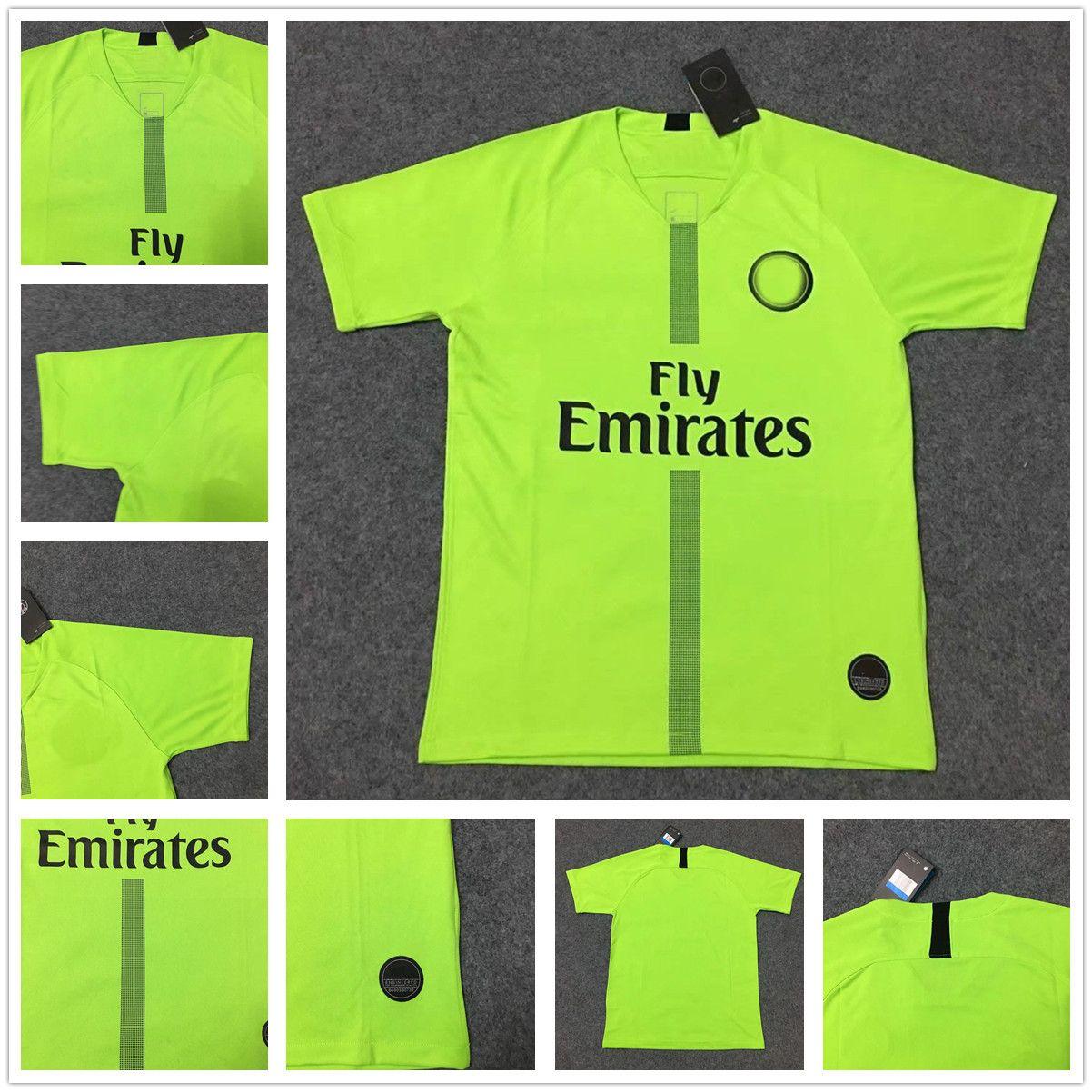 95238a26c 2019 2018 2019 Adults PSG Fluorescent Green Paris  1 Gianluigi Buffon  Goalkeeper  16 Areola 18 19 MBAPPE Champions Jerseys League Maillots From  Fanshomed2