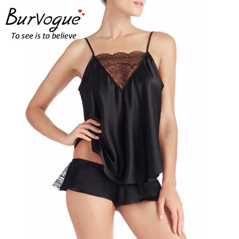 82a1160dc Burvogue Sexy Pajama Sets Sleepwear For Women Sleeveless Spaghetti Strap Nightwear  Lace Pajamas Satin Cami Top Shorts Pajamas Y1892710 Mens Silk Pyjamas ...