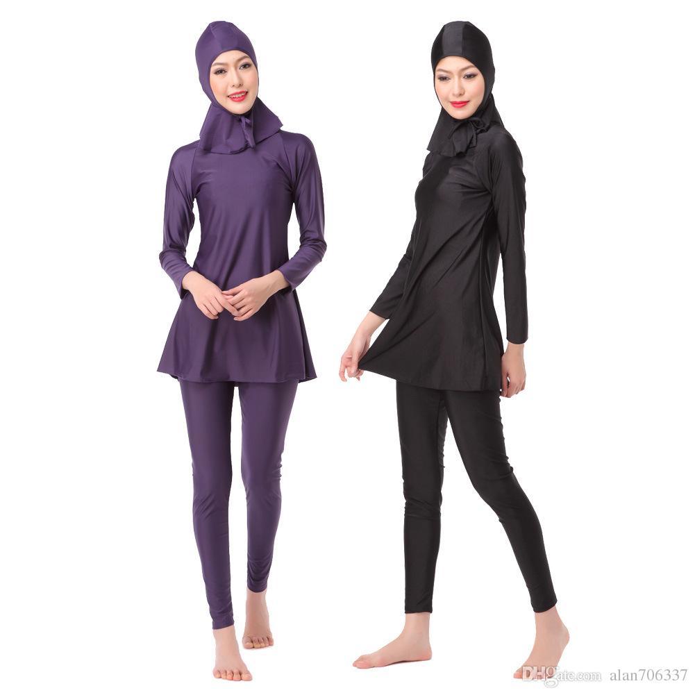 e4cedb5548 2019 Muslim Womens Full Coverage Modest Swimwear Muslim Long Sleeve Swimwear  Islamic Swimsuit Hijab Swimsuits Bathing Suits XX 393 From Alan706337, ...