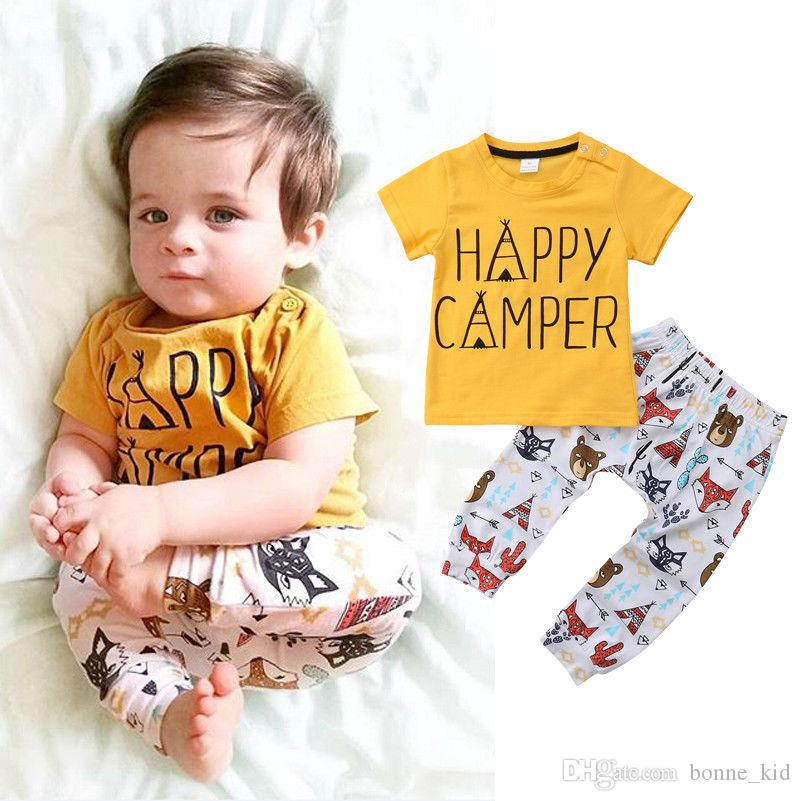 08cbc3faa14d Newborn Baby Boys Animals Toddler Yellow T-shirt+Pants Set Outfits ...