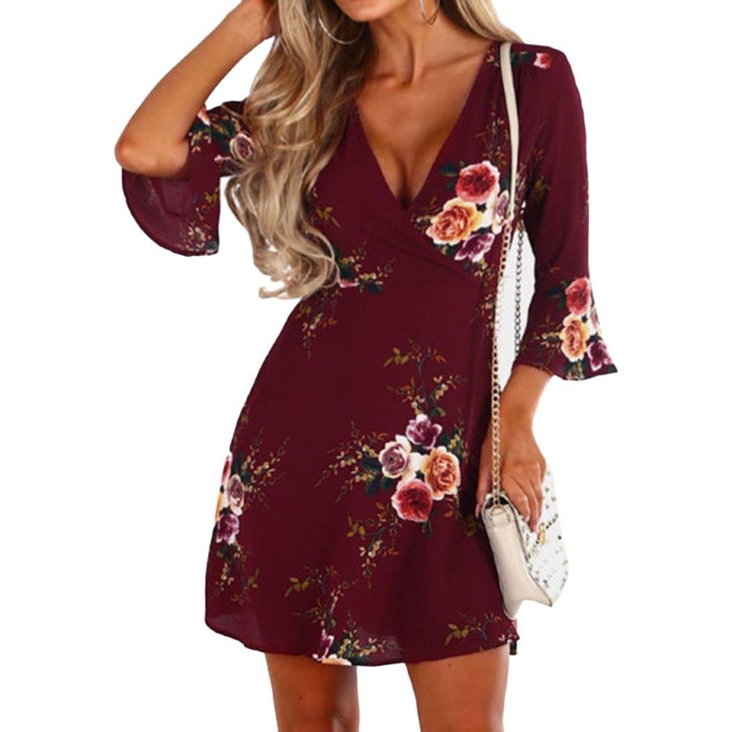 f47f084520fad 2018 Summer Dress Women Floral Print Chiffon Dress Boho Party Short Beach  Sundress Casual Shift A-Line Dresses Vestido Q4