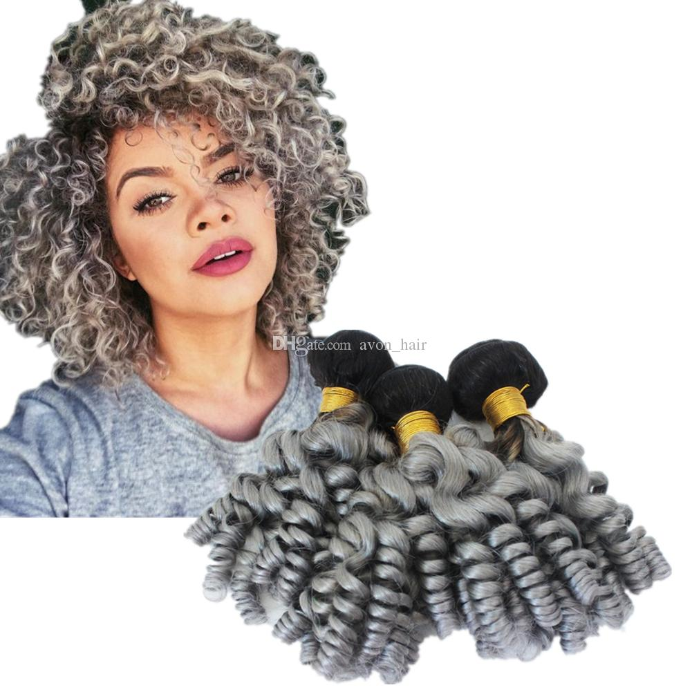 Dark Roots Aunty funmi Human Hair 3Bundles Ombre Two Color 1B Grey Funmi Curly Hair Extensions 300g/lot