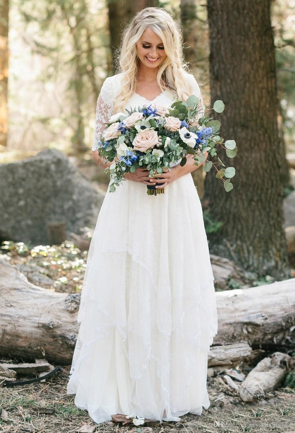 2020 Western Country Bohemian Beach A Line Wedding Dresses V Neck Lace Chiffon Half Sleeves Tiered Floor Length Plus Size Bridal Gowns