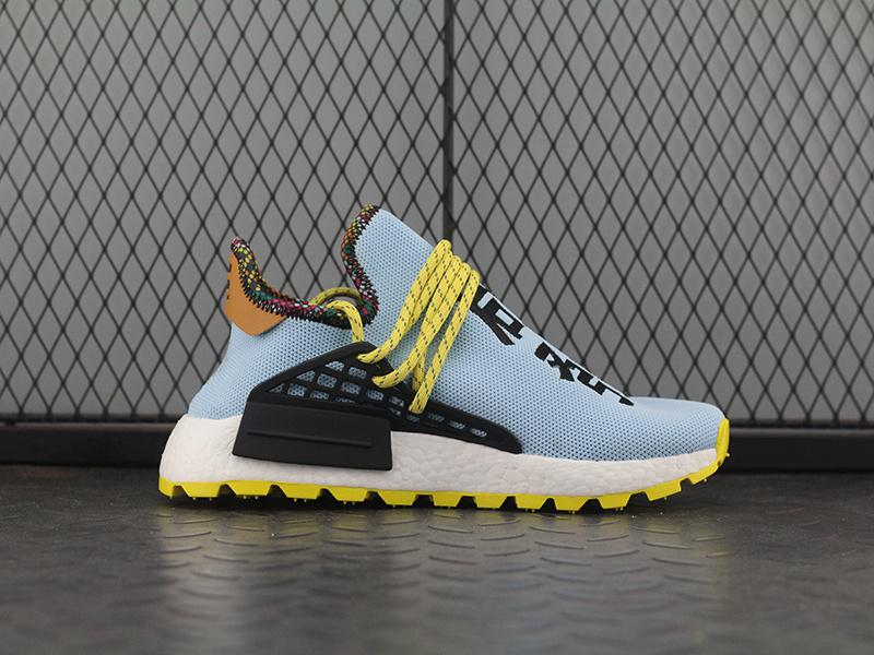 2cc77dc4a 2019 2018 Pharrell Williams NMD Hu Inspiration Pack Running Shoes Clear Sky  Black Orange Authentic High Quality Sports Sneakers With Box EE7579 From ...