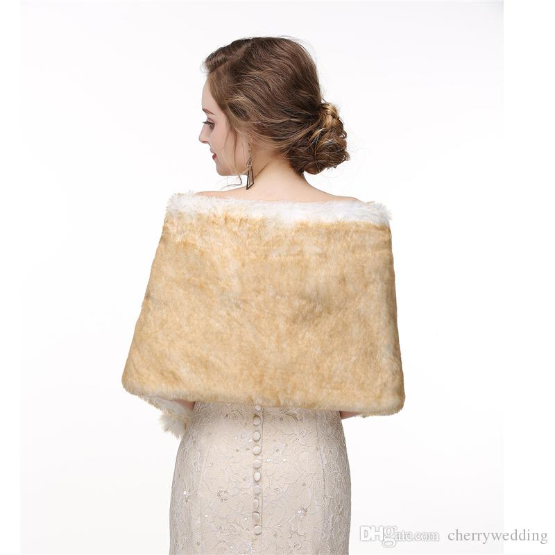 CMS16 For Weddings and Events Women Luxury Bridal Faux Fur Shawl Wraps Cloak Coat Sweater Cape Women Shawl For Special Occasion