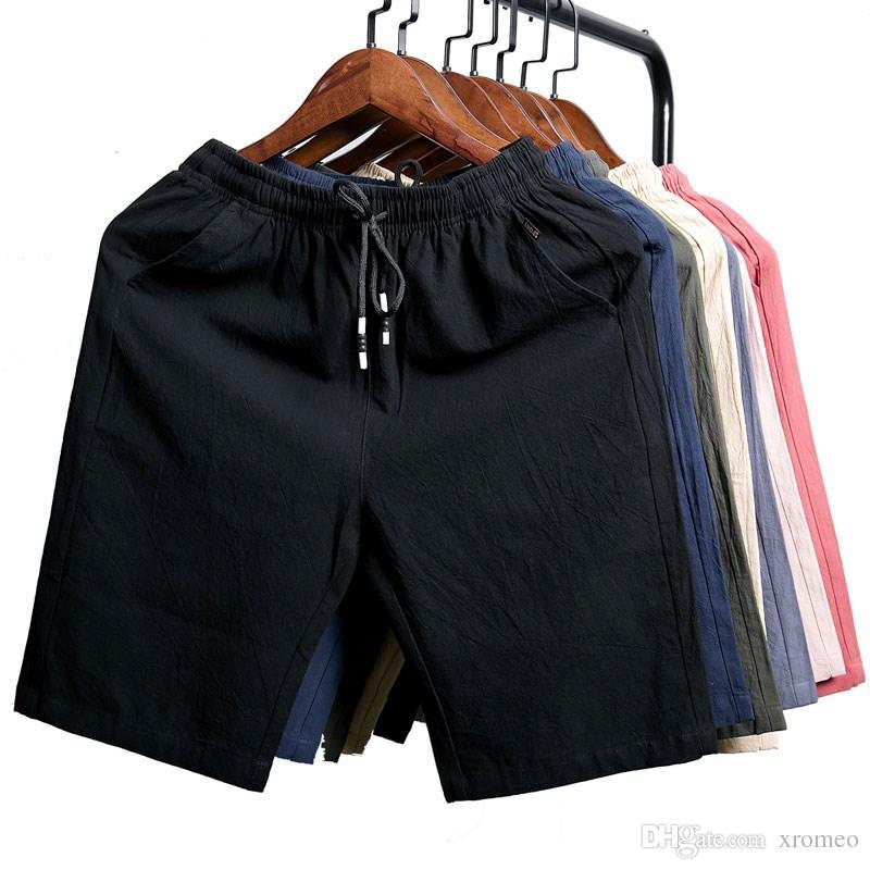 0b3feeea83 3 Pieces a Set Men's Cotton Short Pants Street Style Solid Elastic Waist  Short Pant Solic Cotton Summer Pants Big Pocket Half Loose Trousers