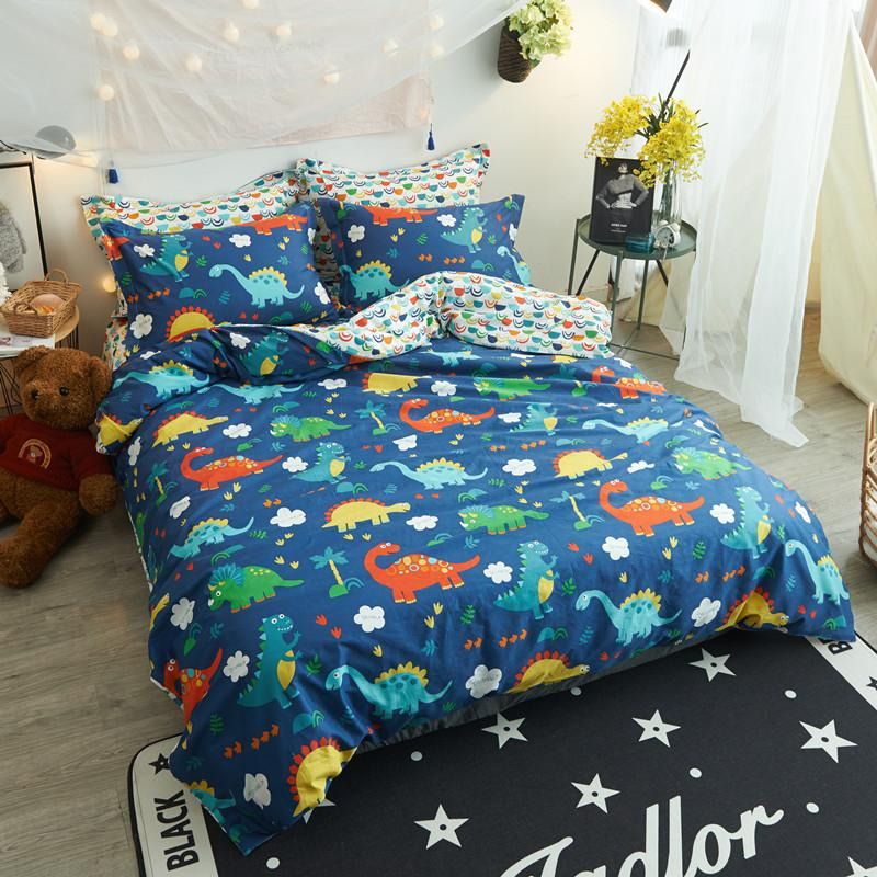 Colorful Dinosaurs Simple Bedding Sets 3/Twin Queen Size Cotton ...