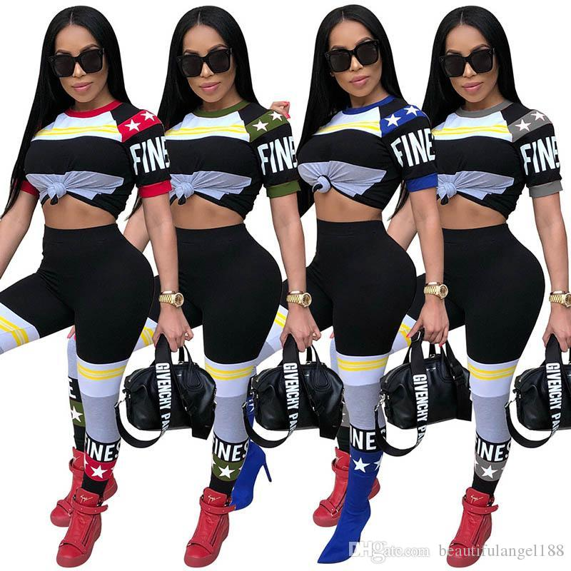 Summer women pants suit Contrast color sports casual two-piece Red Gray Blue Army Green Nightclub Clothing Round neck short-sleeved T-shirt