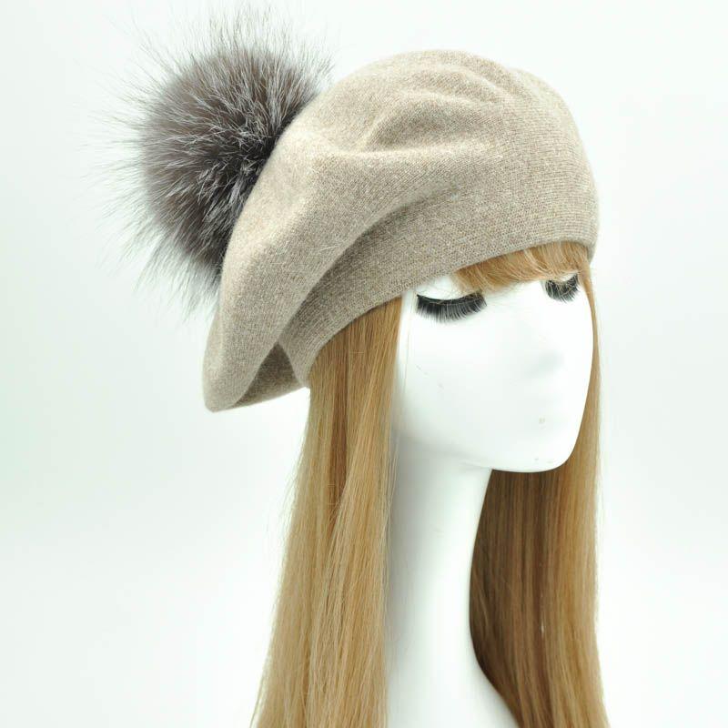 9b2adeef24f 2019 Winter Beret Hat Women Female Autumn Cashmere Wool Beret ...