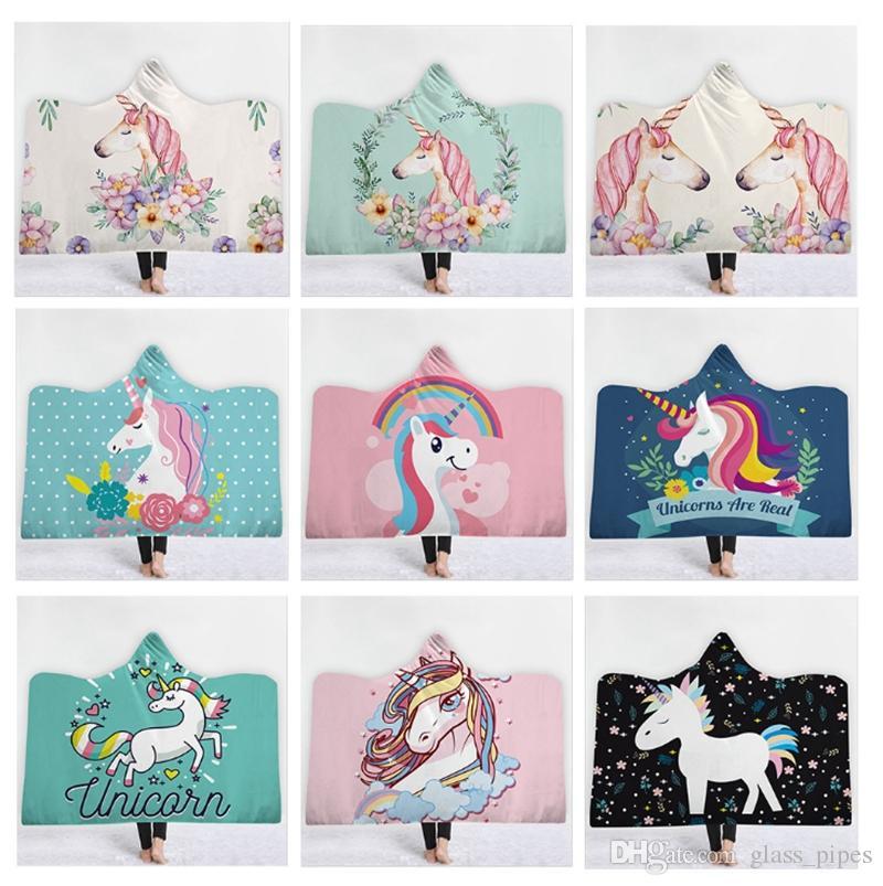 unicorn hooded blanket wearable fleece blankets oversized throw blankets cartoon unisex warm bathrobe christmas gift 39 designs yw1567 best electric throw
