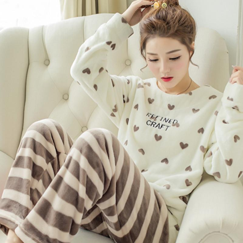8d5ed7bd16e3 2019 JINUO Autumn Winter Women Flannel Pajamas Set 2017 Women Pajamas Pant  Sleepwear Warm Nightgown Printed Sleepwear Size M 2xL From Honey111