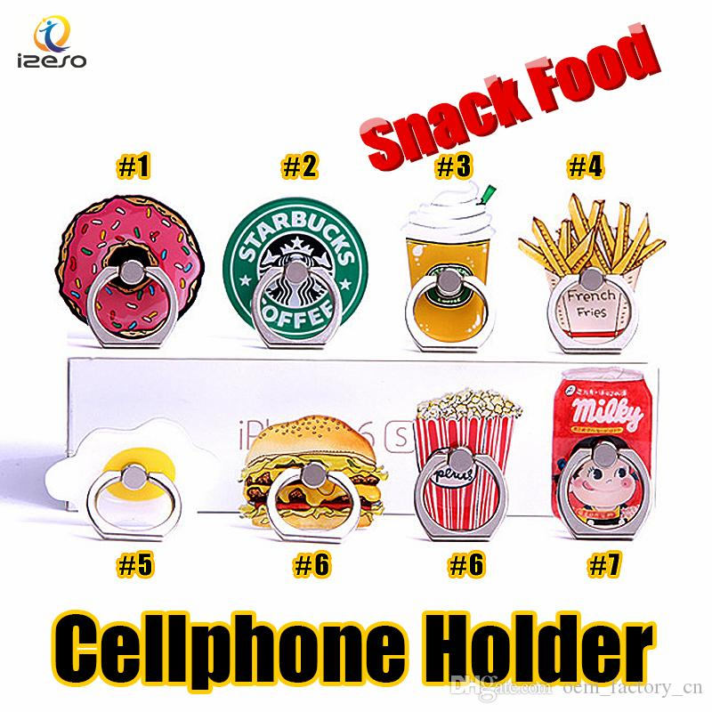 Universal Cute Ring Phone Holder Cute Snack Foods Doughnuts Acrylic Cellphone Stands for iPhone Samsung Tablet 360 Degree Finger Holders