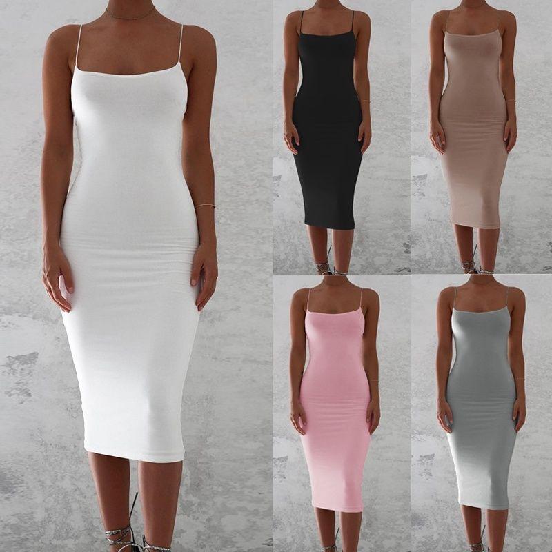 dc65ea32ffb6 Summer Women s Sexy Solid Color Sleeveless Sling Dress Slim Bag Hip ...