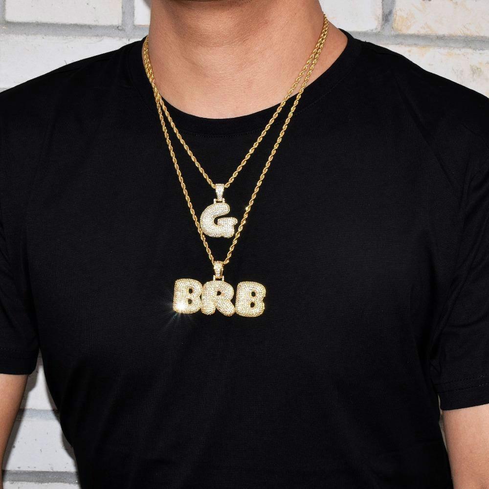 f9c976348412 A-Z Nombre personalizado letras de la burbuja collares, colgante, encanto  para hombres mujeres Oro color plata, circonita, con cadenas de cuerda ...