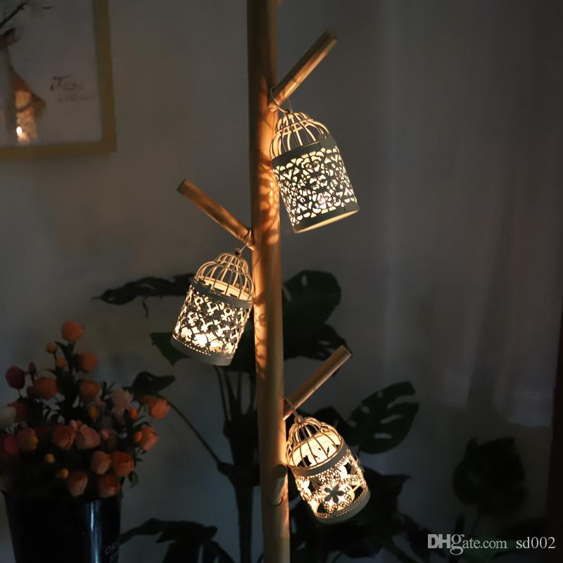 Morocco Bird Cage Candle Holders Hollowed Out Design Hanging