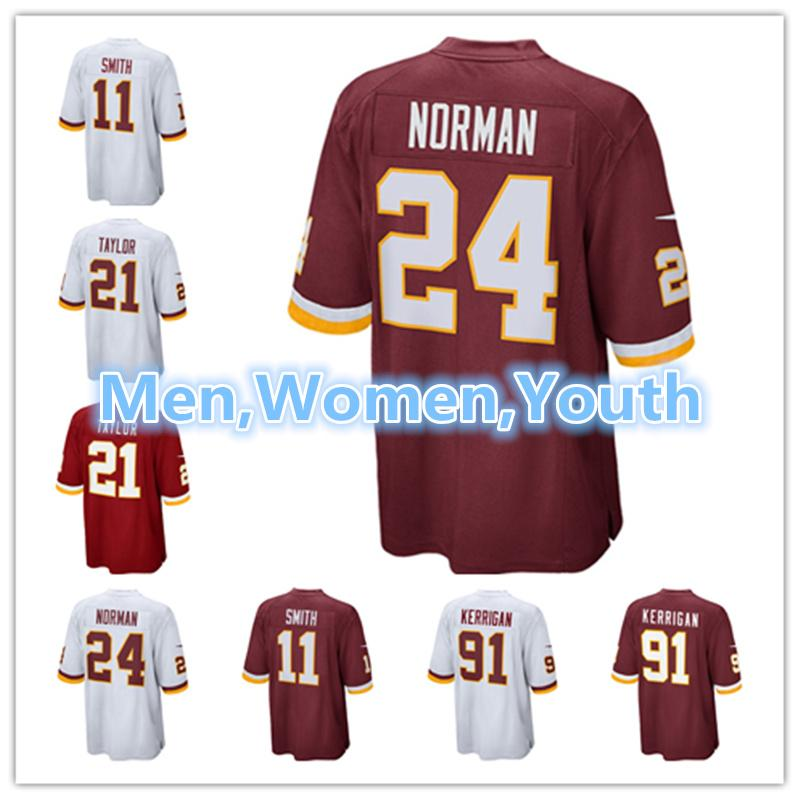 buy online 77fd5 84305 Men Women Youth Washington Redskins Jersey 11 Alex Smith 24 Josh Norman 91  Ryan Kerrigan 21 Sean Taylor Football Jerseys