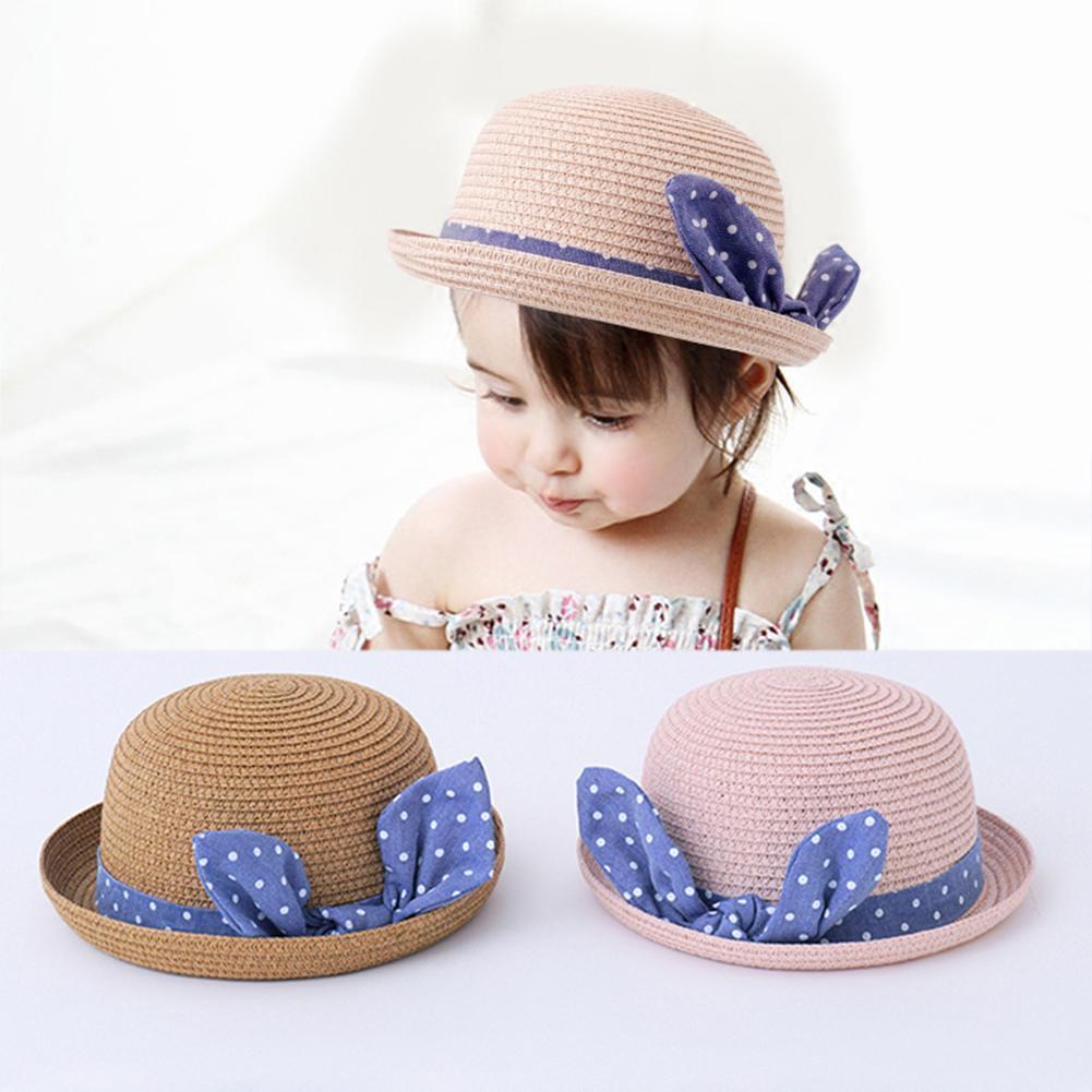 2019 2018 Cute Child Girls Straw Hat Bowknot Sun Hat Kids Large Brim ... 89f9579bce9c