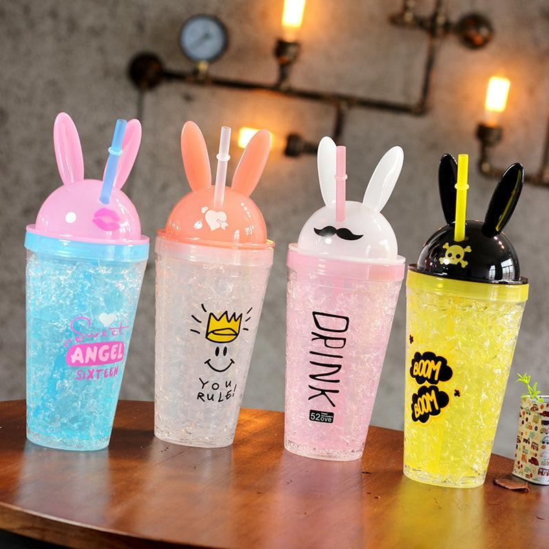 YiHAO Creative summer ice water bottle 480ml double layer plastic cool student straw drink ice kettle plastic cartoon Kettle