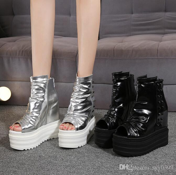 Hot!!! Woman fashion sexy platform shoes fish mouth shoes high-heeled wedge heel sandals Rivet Zip Mixed Color hight top shoes