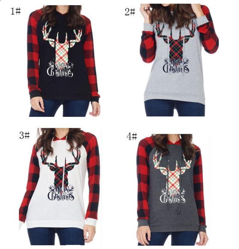 63a1fec40 Women Girls Christmas Hoodie Elk Deer Printing Autumn Long Sleeves ...