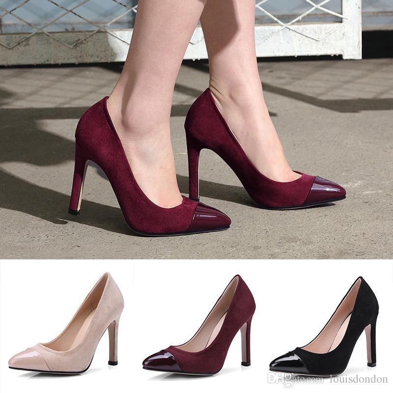 290a2e4a37 Compre Zapatos De Tacón Alto De Las Mujeres Bombas De Gamuza 10 Cm Zapatos  De Vestir De Tacón Borgoña Negro Zapatos De Oficina De Cuero De Charol  Puntiagudo ...