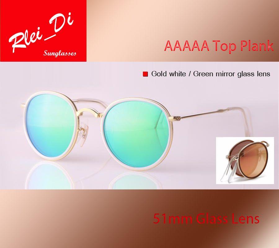 19ab1365b3 Classic Round G15 Glass Fold Lens Fashion Sunglasses Womens Mens Hinge  Sunglasses Brand Design Cross UV400 Mirror Eyewear Circular With Case  Prescription ...