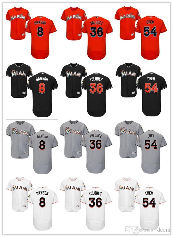 79d64d12d Custom Men Women Miami Marlins Jersey  36 Edinson Volquez 8 Andre ...