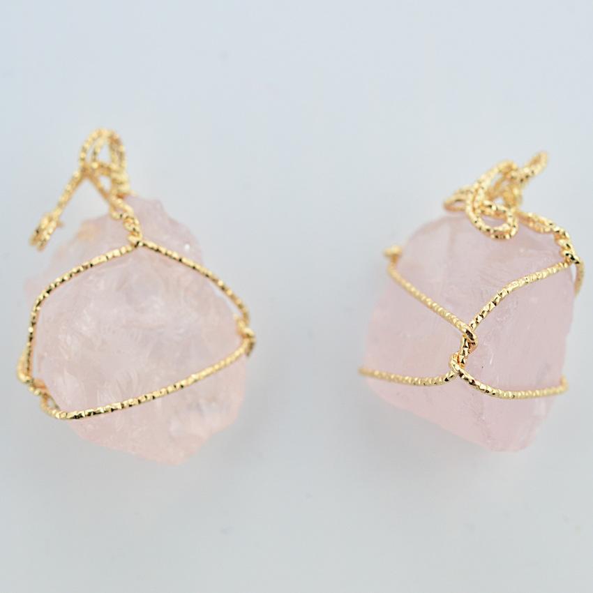 Hübsche Natur Steinhänge Amethyst Rose Quarz Weiß Kristall Zitronen Kristall Fluorit Charms Stein Für Halskette