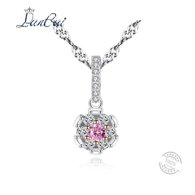 6805e116b6c1 Compre LANCAI Flor De La Vendimia Forma Colgante De Cristal De Color Rosa  Circón Mujeres De Piedra 925 De Plata De Dos Colores Colgantes De Oro  Collares ...
