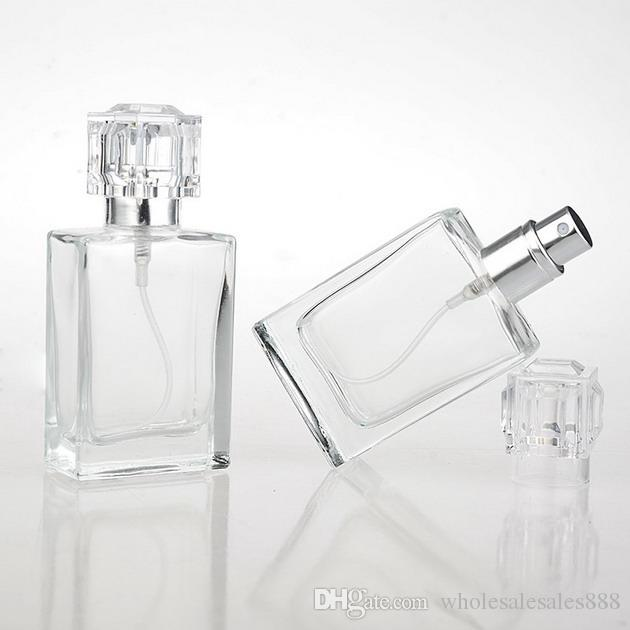 100 Adet 30 ML Moda Taşınabilir Alüminyum Atomizer Ile Şeffaf Cam Parfüm Şişesi Boş Kozmetik Durumda Seyahat Için