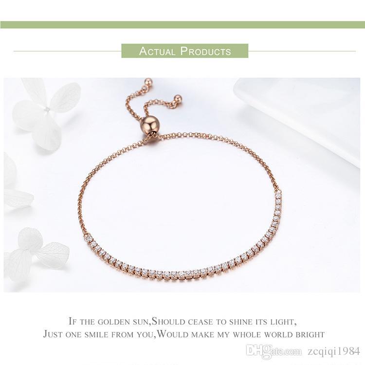 أعلى جودة ريال 925 فضة متألقة ستراند سلسلة سوار للنساء مجوهرات الجميلة محظوظ هدية بالجملة