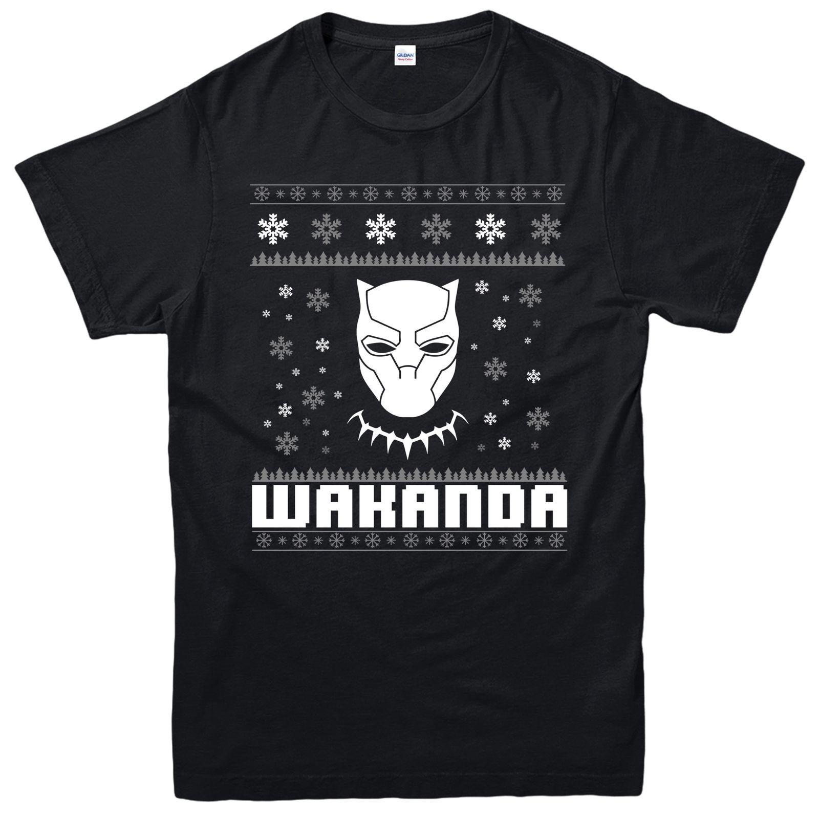9ac64fe9 Black Panther Christmas T-Shirt, Avengers Wakanda Festive Gift Adults &  Kids Tee