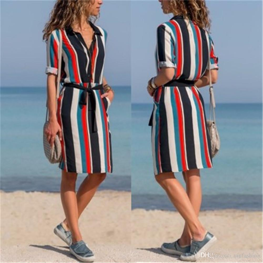 0d48deb3b98 Vintage Women Multicolor Striped Shirt Dress Lady Turn Down Collar With  Belt Casual Autumn Dress Midi Tunic Dress For Evening Party Ladies Cocktail  Dress ...