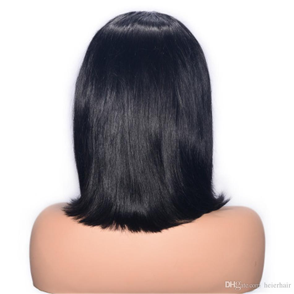 Mongolian Virgin Human Hair Bob Wigs for Women Straight Lace Front Wig Natural Color Glueless Lace Wig Ping