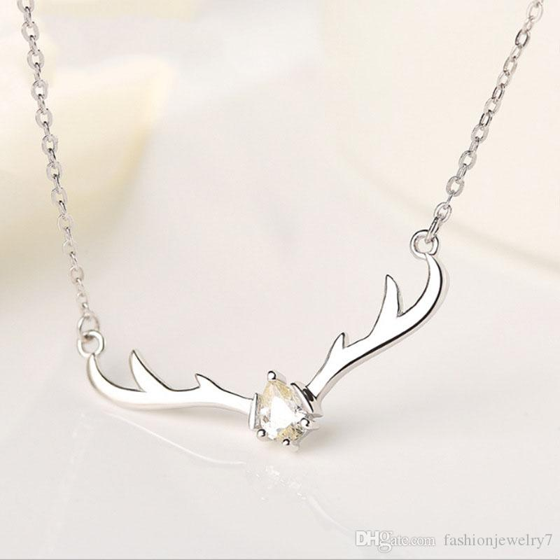 100% S925 sterling sliver Deer Antler Necklaces Jewelry Christmas Necklace for Woman Colar De Chifre De Veado Designer Jewelry with box