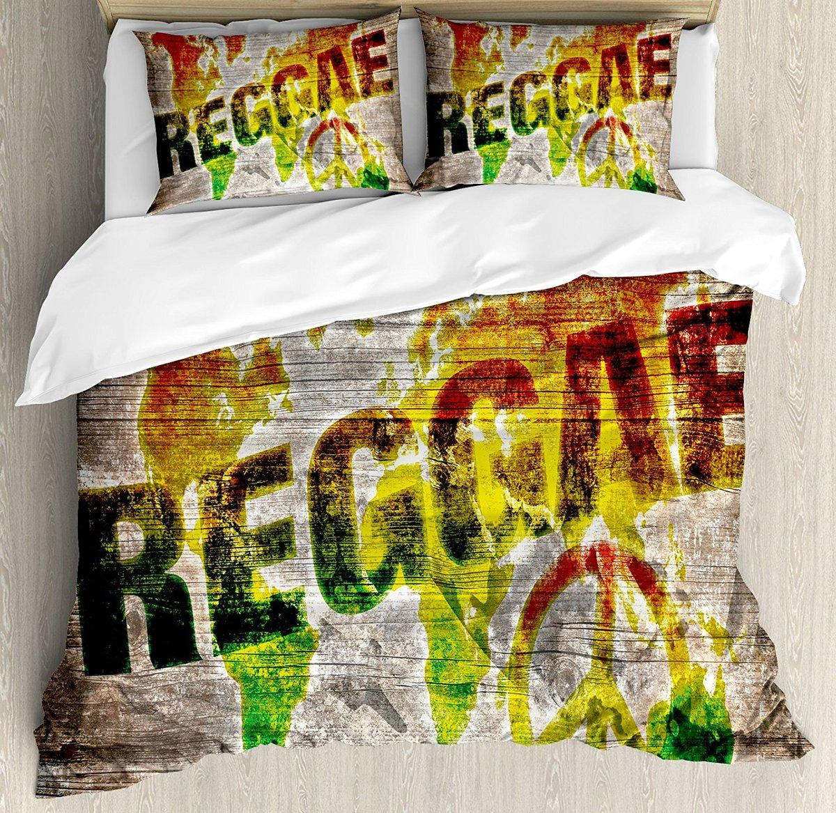 World Map Sheet Set.Rasta Duvet Cover Set World Map On Plaques With Reggae Lettering And